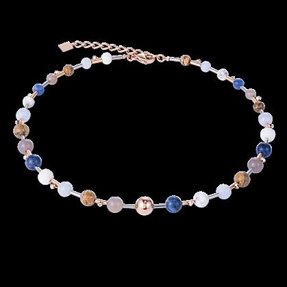1a0fb5b46 Kék barna rozé ásvány nyaklánc