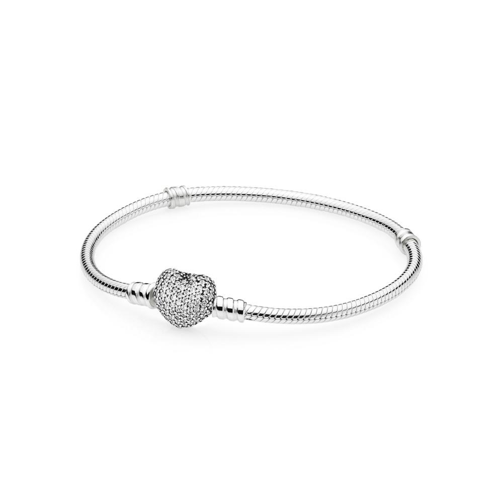 08a7edef6c Pandora ékszer Moments ezüst karkötő pávé szív kapoccsal -