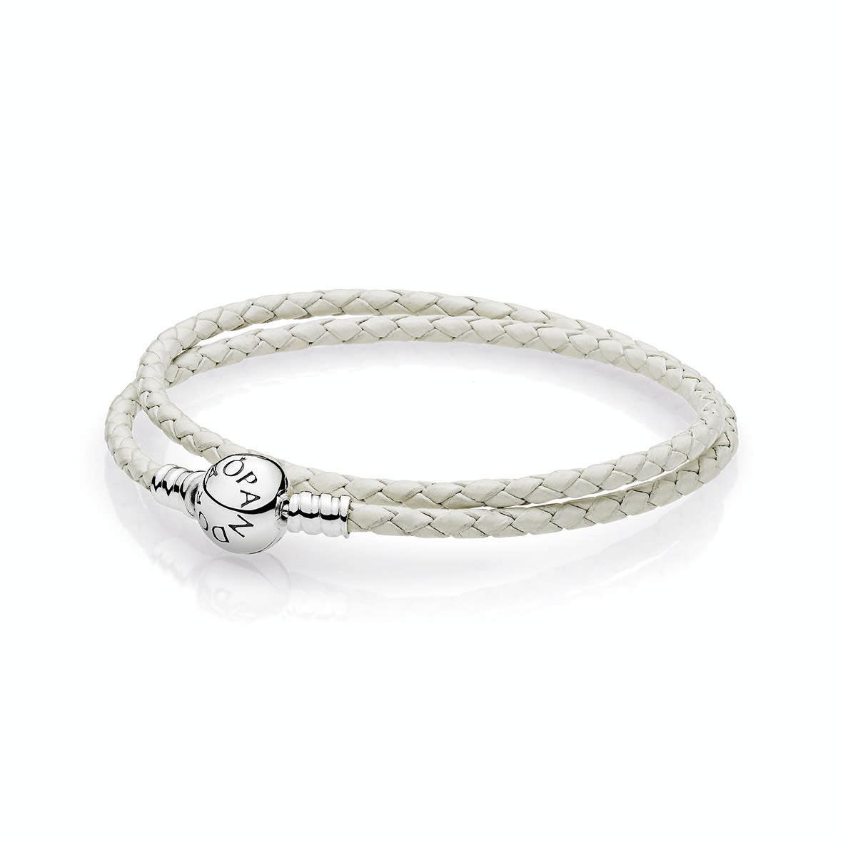 3d1c9af03d8f Pandora ékszer Moments kétsoros fonott karkötő fehér -