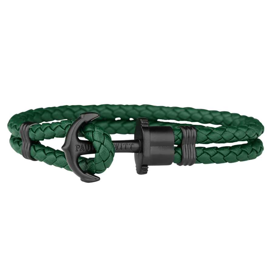 09b40c64cd Paul Hewitt Zöld bőr karkötő fekete horoggal -