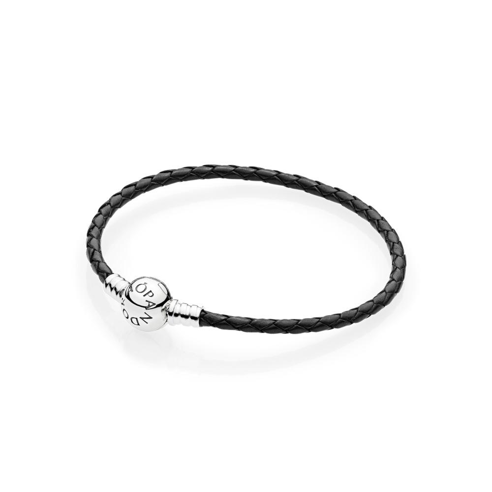 f6bc214db3 Pandora ékszer Moments egysoros bőr karkötő fekete -