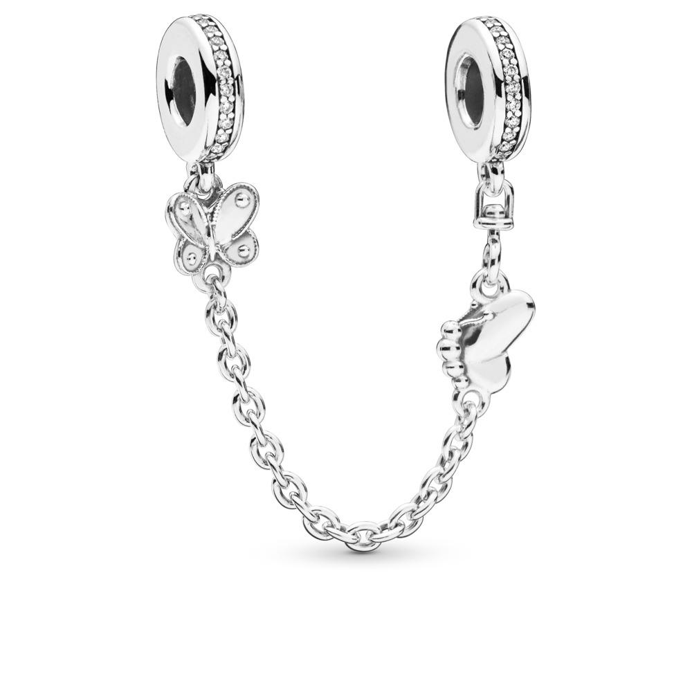 68d8fefc9f9e Pandora ékszer Elragadó pillangók ezüst biztonsági lánc - 797865CZ-05